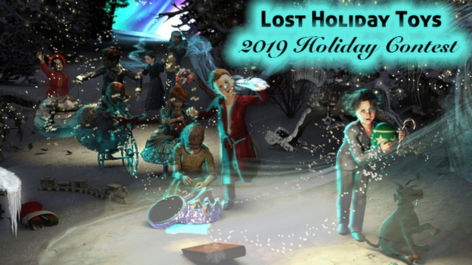 "Renderosity 2019 Holiday Contest is themed ""Lost Holiday Toys"""